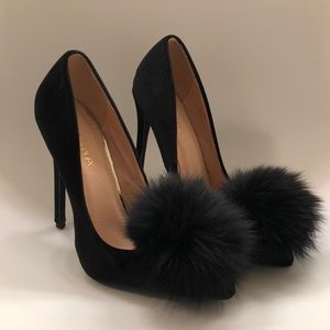Liliana Black Velvet Heels with Puff Detail
